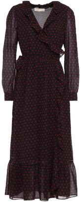 MICHAEL Michael Kors Ruffled Polka-dot Crepe De Chine Midi Wrap Dress