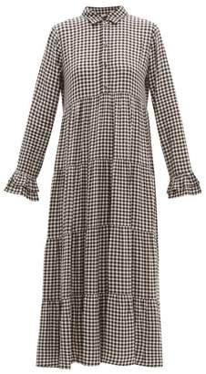 Ganni Gingham Crepe Tiered Maxi Dress - Womens - Black White