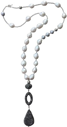 Farra Natural Edison Pearls & Rhinestones Y-Shaped Necklace