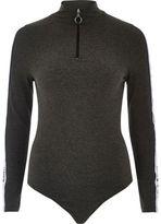 River Island Womens Grey marl zip bodysuit