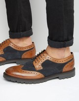 Base London Conflict Leather Derby Brogue Shoes