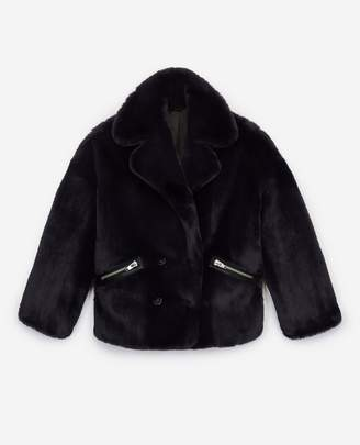 The Kooples Blue faux fur coat with zipped pockets
