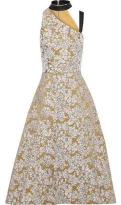 Alice + Olivia Chrissy Cutout Leather-trimmed Floral-jacquard Midi Dress