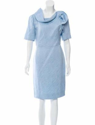 Oscar de la Renta Wool Knee-Length Dress blue