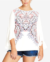 City Chic Trendy Plus Size Printed Bell-Sleeve Tunic