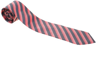 Boss by Hugo Boss Red and Navy Blue Diagonal Striped Silk Jacquard Tie