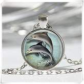 Flowers Nautical Jewelry Porpoise Marine Seaside Ocean Art Pendant in Bronze or Silver with Link Chain Included