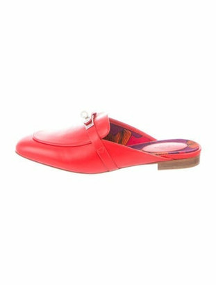 Hermes Oz Leather Mules Red