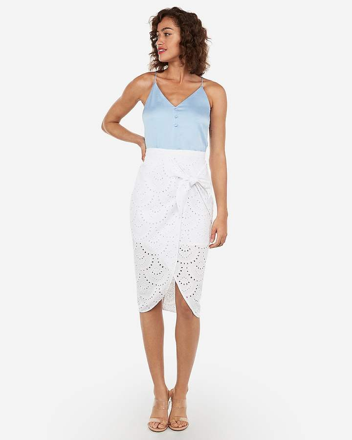 Express High Waisted Eyelet Wrap Tie Midi Skirt