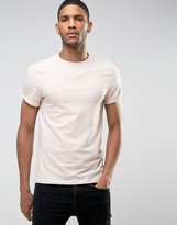 Asos Muscle T-Shirt With Roll Sleeve In Pink