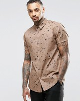 Asos Brown Shirt In Paint Splatter Print In Regular Fit