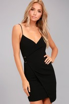 LuLu*s Make My Night Black Bodycon Wrap Dress