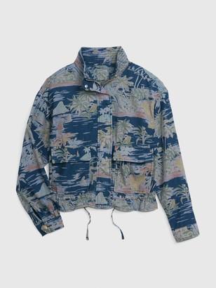 Gap Print Mockneck Jacket in Cotton-Linen