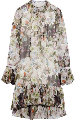 Adam Lippes Ruffled Floral-print Silk-chiffon Mini Dress