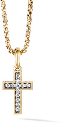 David Yurman The Pave Collection Cross 18K Yellow Gold & Diamond Enhancer Pendant
