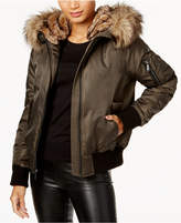 BCBGeneration Faux-Fur-Trim Bomber Coat