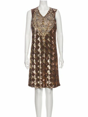 Naeem Khan Silk Knee-Length Dress w/ Tags Gold