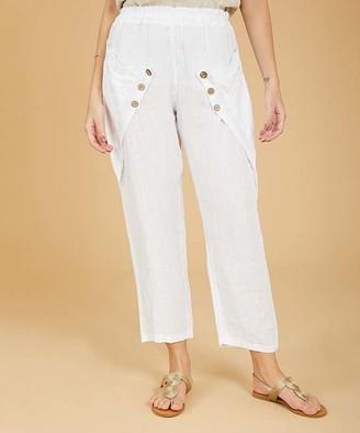 Ornella Paris Women's Casual Pants - White Side-Pocket Linen Straight-Leg Pants - Women & Plus