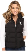 U.S. Polo Assn. Basic Puffer Vest with Faux Fur Trimmed Hood
