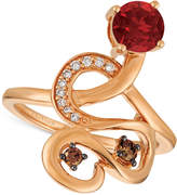 LeVian Le Vian Chocolatier® Raspberry Rhodolite® (9/10 ct. t.w.) and Diamond (1/6 ct. t.w.) Ring in 14k Rose Gold