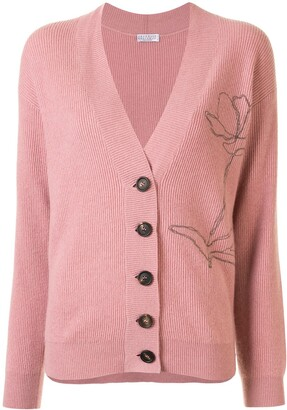 Brunello Cucinelli Rose Detail Cashmere Cardigan