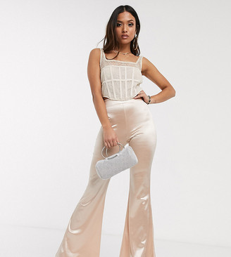 Asos DESIGN Petite high waisted satin flare