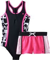 ZeroXposur Girls Plus Size Geometric Colorblock One-Piece Racerback Swimsuit & Shorts Set