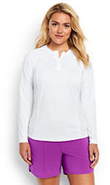Classic Women's Plus Size Long Sleeve Half-zip Rash Guard-White