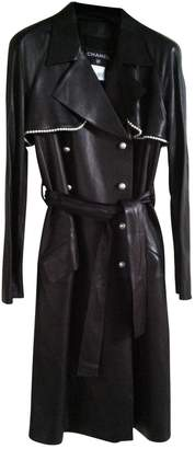 Chanel Black Leather Trench coats