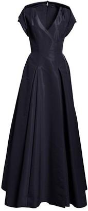 Zac Posen Cap Sleeve Pleated Skirt Silk Ball Gown