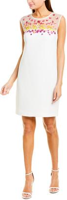 Trina Turk Prismatic Silk-Trim Shift Dress