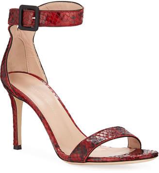 Giuseppe Zanotti Snake-Print Leather Ankle-Strap Sandals