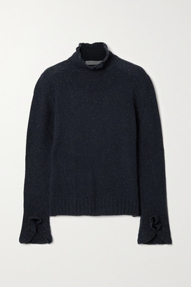 Philosophy di Lorenzo Serafini Ruffled Metallic Cashmere-blend Turtleneck Sweater - Navy