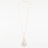 John Lewis Long Circular Stone Double Drop Necklace, Rose Gold