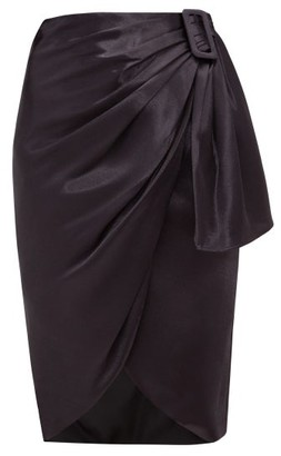 Altuzarra Polly Asymmetric Draped Satin Skirt - Womens - Dark Blue