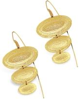 Stefano Patriarchi Golden Silver Etched Oval Triple Drop Earrings