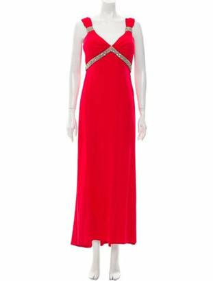 Blumarine V-Neck Long Dress w/ Tags Red
