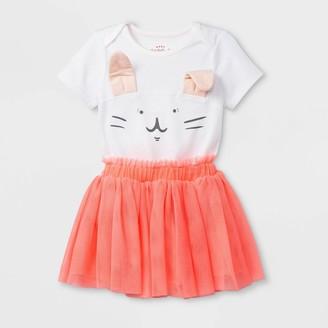 Cat & Jack Baby Girls' Short Sleeve Lap Shoulder Bunny Bodysuit and Tutu Set - Cat & JackTM White/Peach 24M