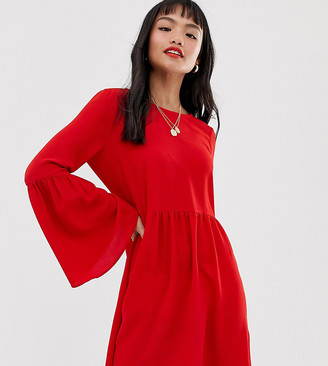 ASOS DESIGN Petite fluted sleeve smock mini dress