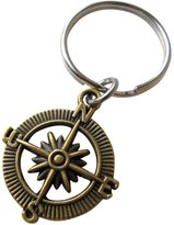 JewelryEveryday Open Metal Compass Keychain - I'd Be Lost Without You 8 Year Anniversary