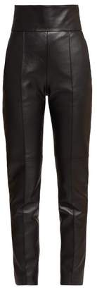 Alexandre Vauthier High Rise Slim Fit Leather Trousers - Womens - Black