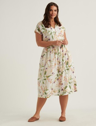 Lucky Brand Floral Vneck Midi Dress