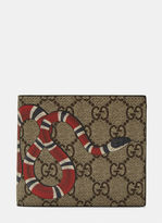 Gucci Men's Snake Print GG Supreme Bi Fold Wallet in Brown and Black