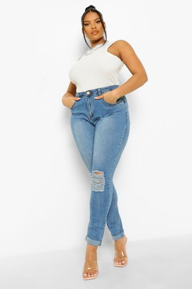 boohoo Plus Ripped Knee Stretch Skinny Jean
