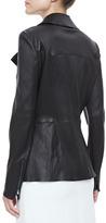 Fendi Hip-Length Fitted Moto Jacket, Black