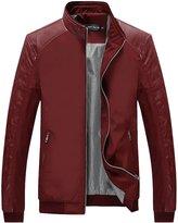 Tanming Men's Color Block Slim Leather Casual Jacket