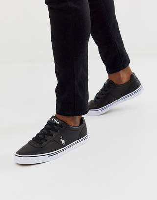 Polo Ralph Lauren leather hanford trainers in black with player logo