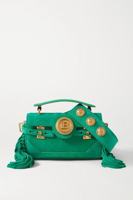 Balmain Bbuzz Baguette Fringed Suede Shoulder Bag - Green