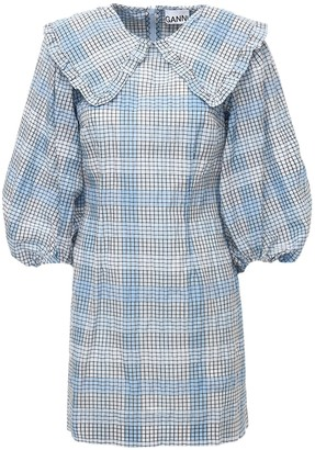 Ganni Seersucker Check Cotton Blend Mini Dress