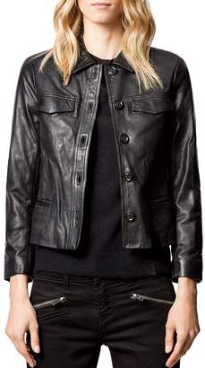 Zadig & Voltaire Liam Leather Button-Up Jacket